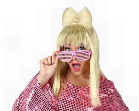 Hair Wig Pop Star Blond with Bow Tie Music Disco 80s DJ